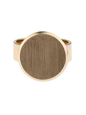 Beige-gold flat-coin pinky ring