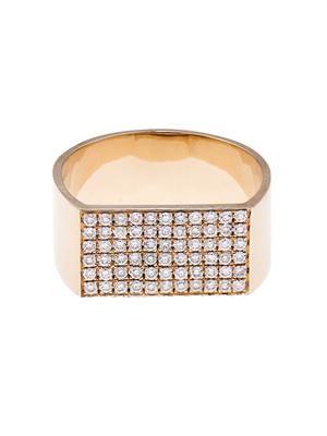 Diamond & beige-gold ID ring