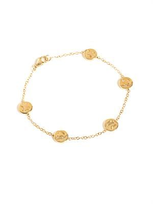 Diamond and gold happy and sad faces bracelet