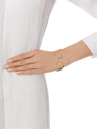Alison Lou Diamond, sapphire, enamel & yellow gold bracelet