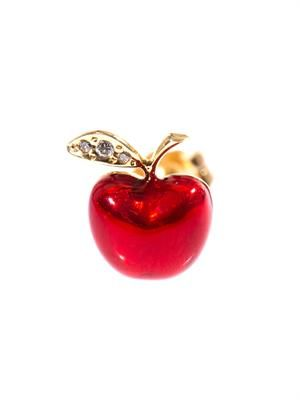 Diamond, enamel & gold apple earring