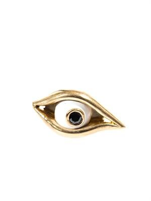 Diamond, enamel & gold eye single earring