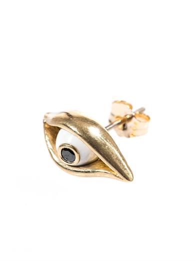 Alison Lou Diamond, enamel & yellow gold Eye earring