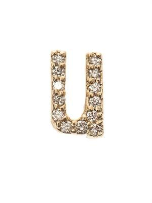 Diamond & yellow gold 'U' earring