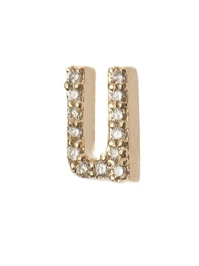Alison Lou Diamond & yellow-gold single 'U' earring