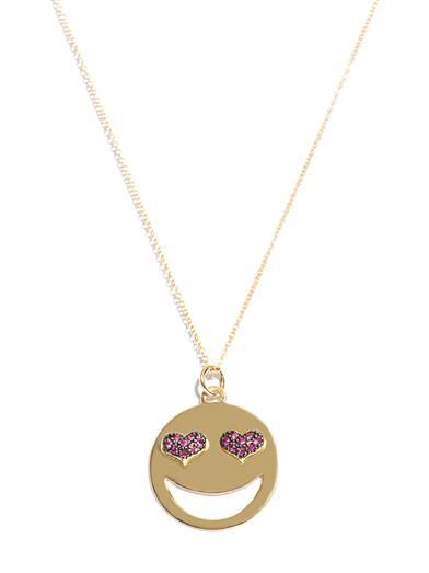 Alison Lou Ruby and gold love struck necklace