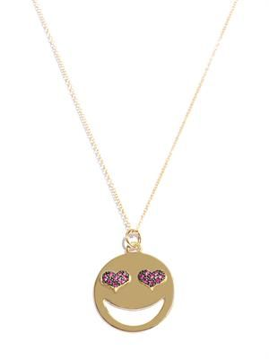 Ruby and gold love struck necklace
