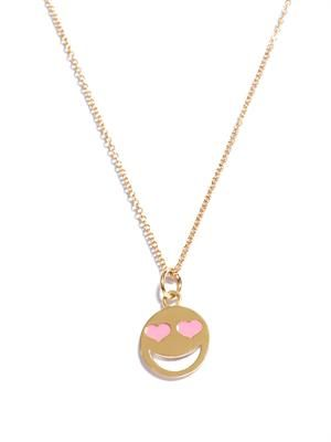 Yellow gold love struck heart eyes necklace