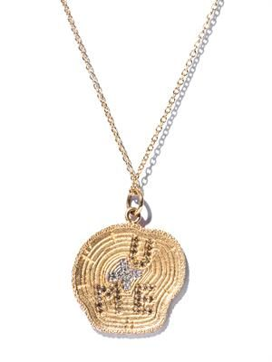 White diamond & yellow gold necklace