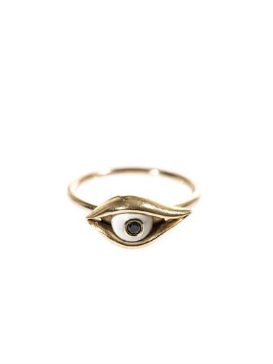 Alison Lou Diamond, enamel & yellow gold Eye ring