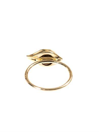 Alison Lou Diamond, enamel & yellow-gold eye ring
