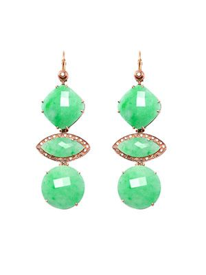 Jade, diamond and rose gold earrings