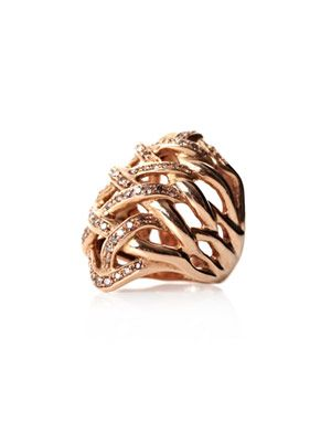 Diamond and rose gold woven ring