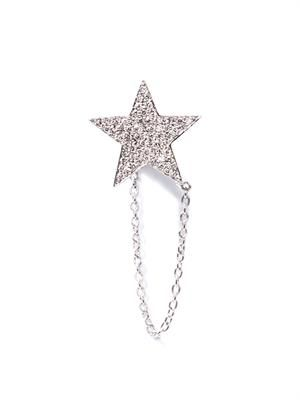 Diamond & white-gold star earring