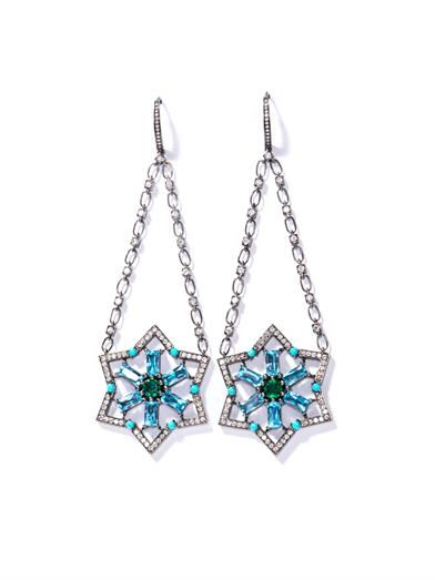 Nikos Koulis Diamond, topaz, turquoise & emerald Star earrings