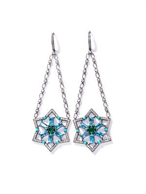 Diamond, topaz, turquoise & emerald Star earrings