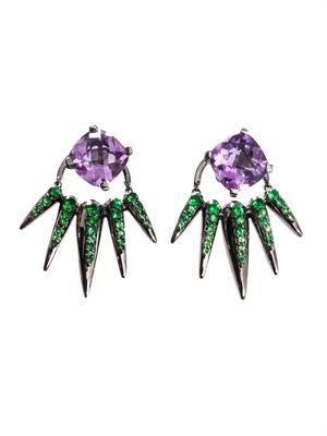 Tsavorite, amethyst & gold earrings