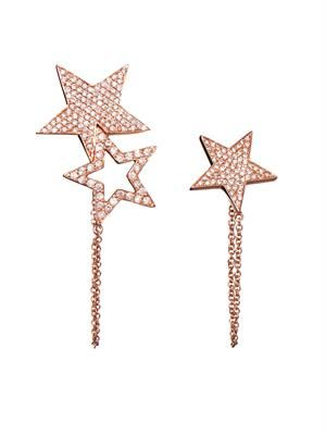 Diamond & pink-gold star earring