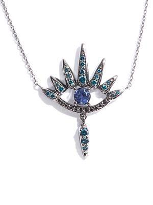 Diamond, sapphire & gold necklace