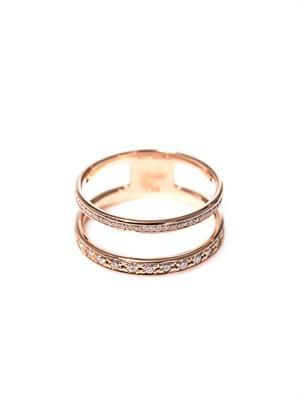 Diamond & pink gold double-band ring
