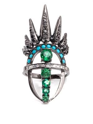 Diamond, emerald, turquoise & gold ring