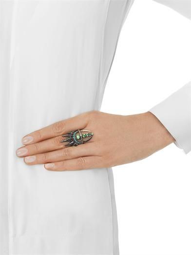 Nikos Koulis Diamond, emerald, turquoise & gold ring