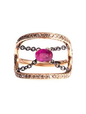 Diamond, ruby & gold ring