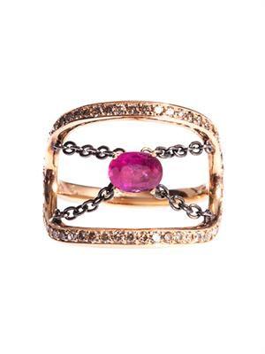 Diamond, ruby & gold ring