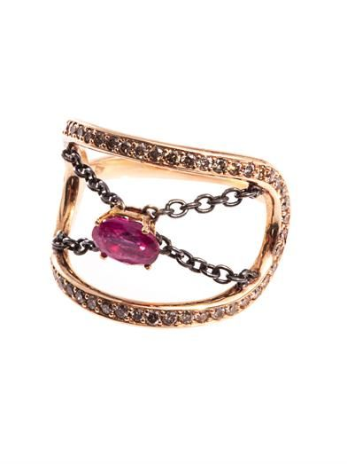 Nikos Koulis Diamond, ruby & gold ring