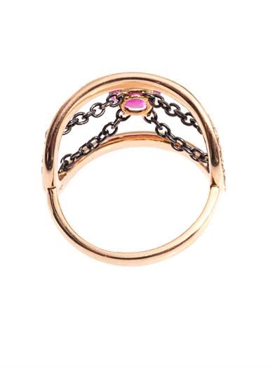 Nikos Koulis Diamond, ruby & gold ring
