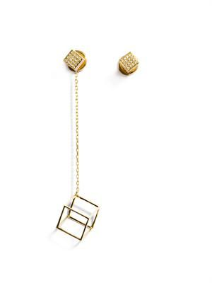 Diamond & gold asymmetrical cube earrings