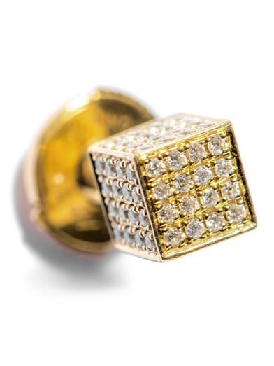 Noor Fares Diamond & gold asymmetrical cube earrings