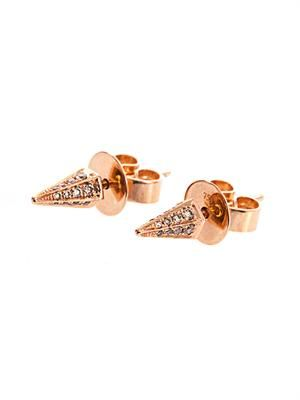 Brown diamond & rose gold cone earrings