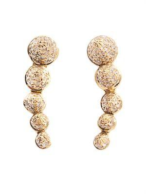 Diamond & yellow gold 5 cone earrings