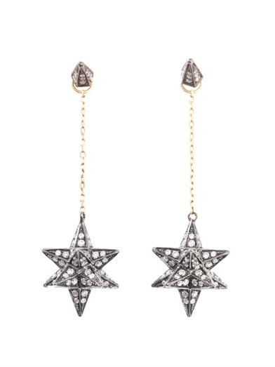 Noor Fares Diamond & gold Merkaba star earrings