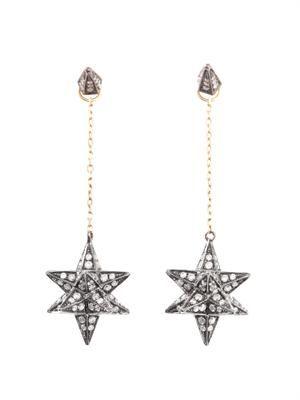 Diamond & gold Merkaba star earrings