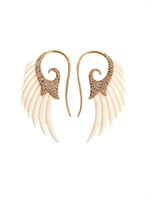 Diamond, mammoth ivory & gold wing earrings