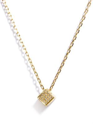 White diamond & gold cube pendant