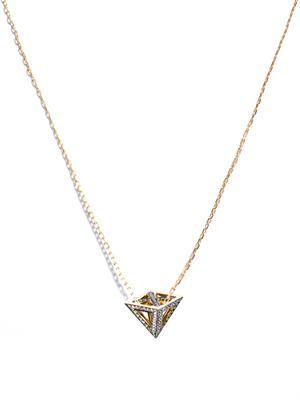 White diamond & gold pyramid necklace