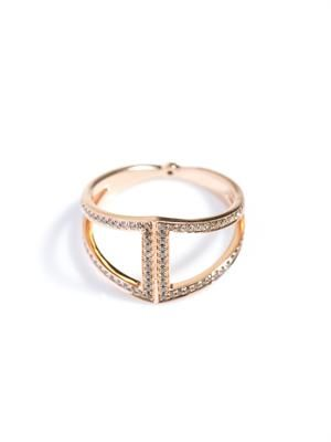 Champagne diamond & gold rhombus ring