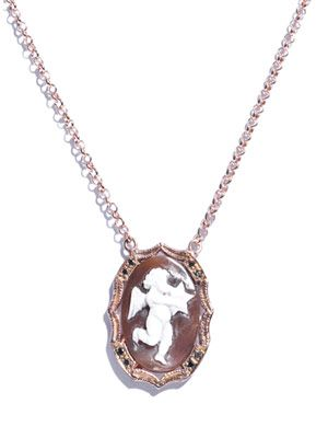 Black diamond, gold-plated cherub necklace