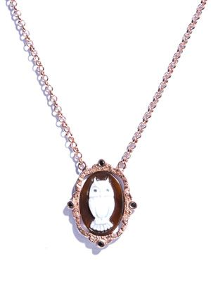 Black diamond, rose gold-plated owl necklace