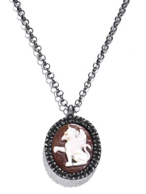 Diamond and rhodium griffin cameo necklace