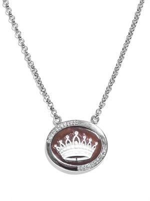 Diamond & sardonyx crown cameo necklace