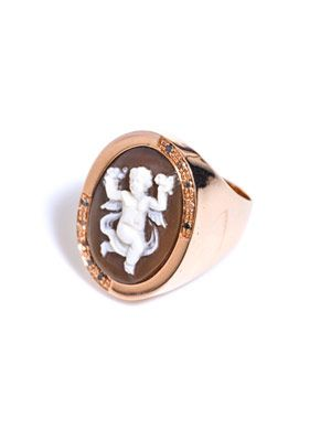 Diamond and gold-plated cherub cameo ring