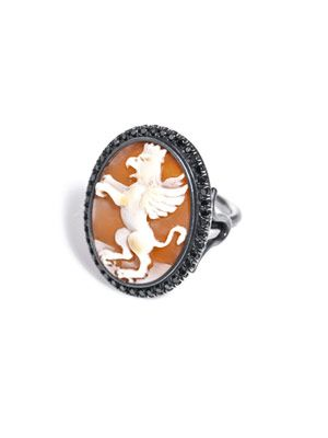 Black diamond and rhodium griffin cameo ring