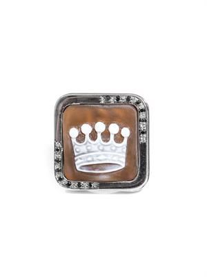 Diamond & sardonyx shell crown cameo ring