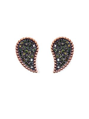 Green diamond and gold earrings