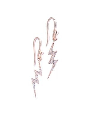 Diamond & rose-gold lightning earrings