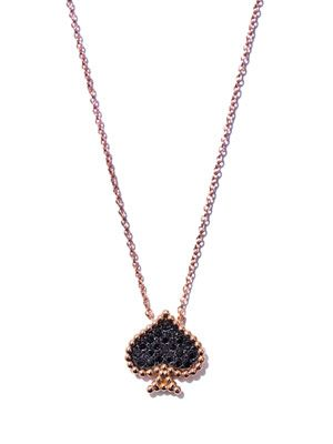 Black diamond & gold spade necklace